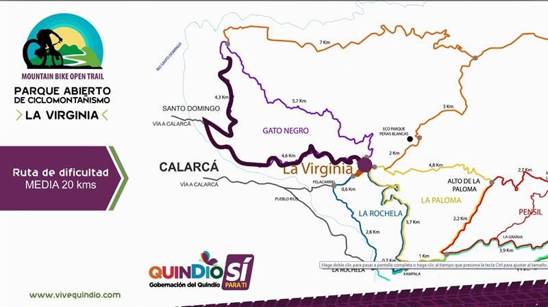 Mapa Parque Abierto de Ciclomontañismo en La Virginia Calarcá Quindío