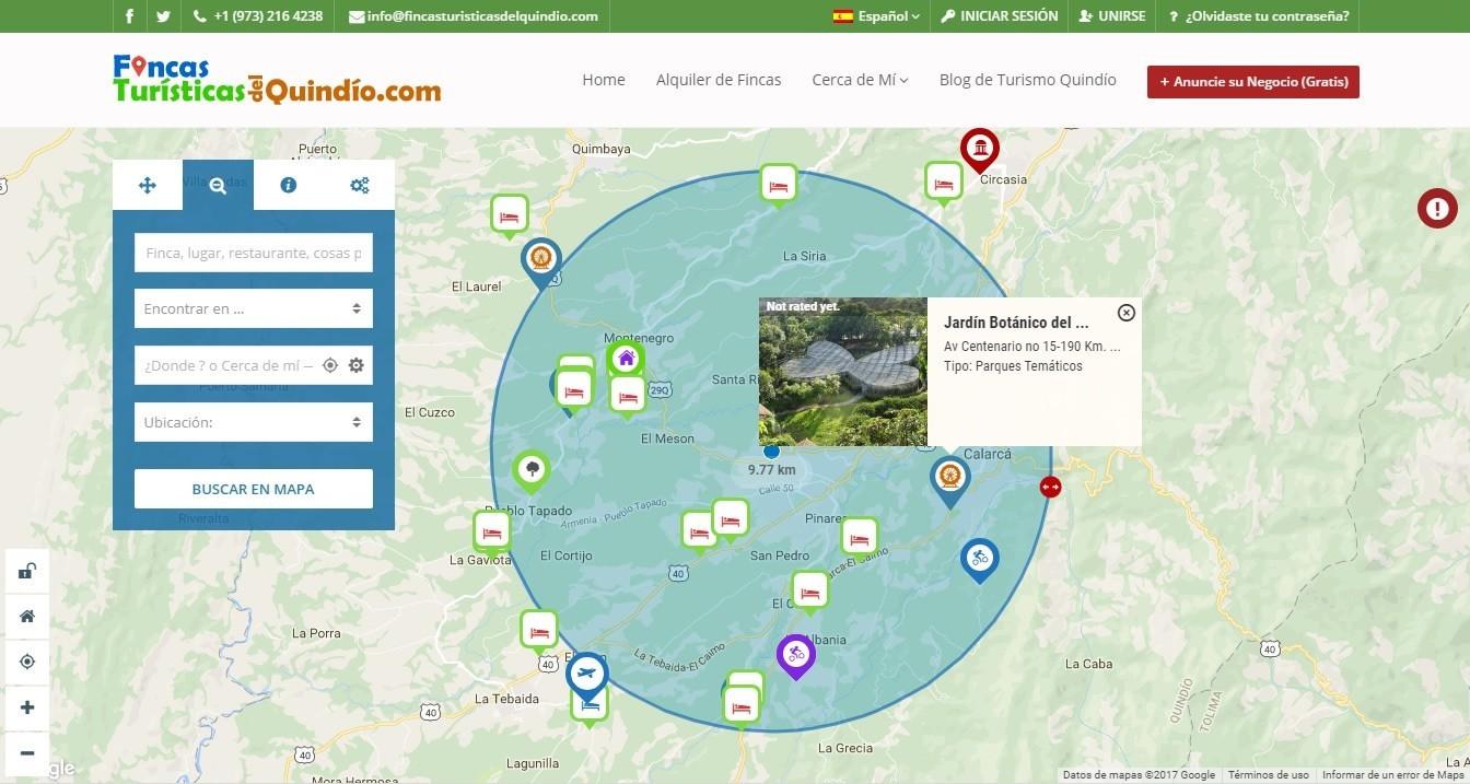 Ubicación del Jardín Botánico de Calarcá en el mapa turísticio del Quindío