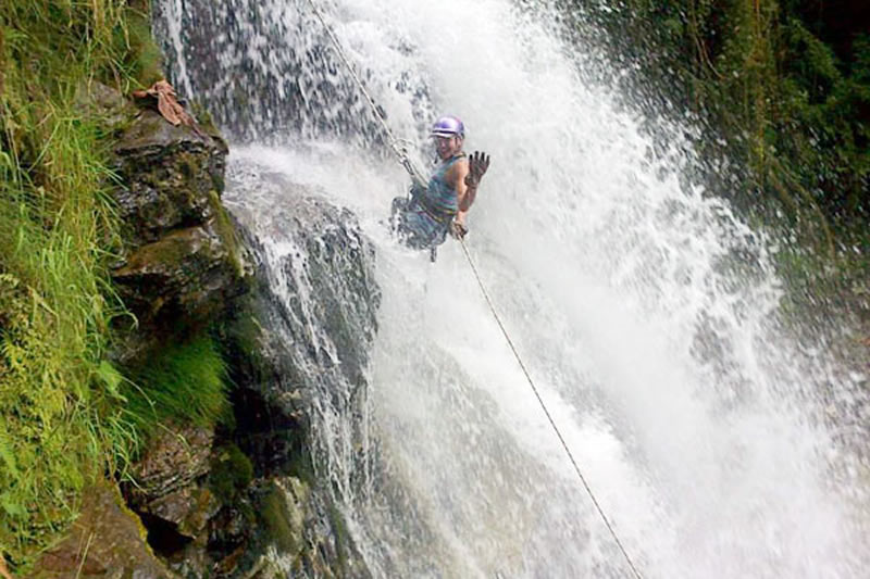 Canyoning in the Waterfalls of the Green River, Nature Reserve in Cordoba