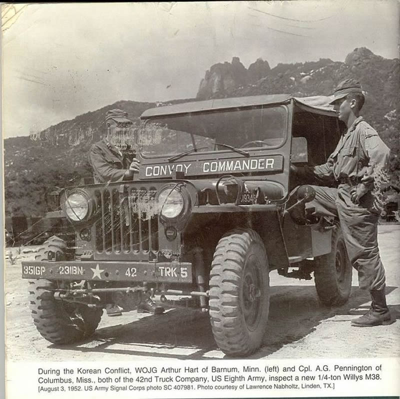 Jeep Willlys en el conflicto de Korea en 1952