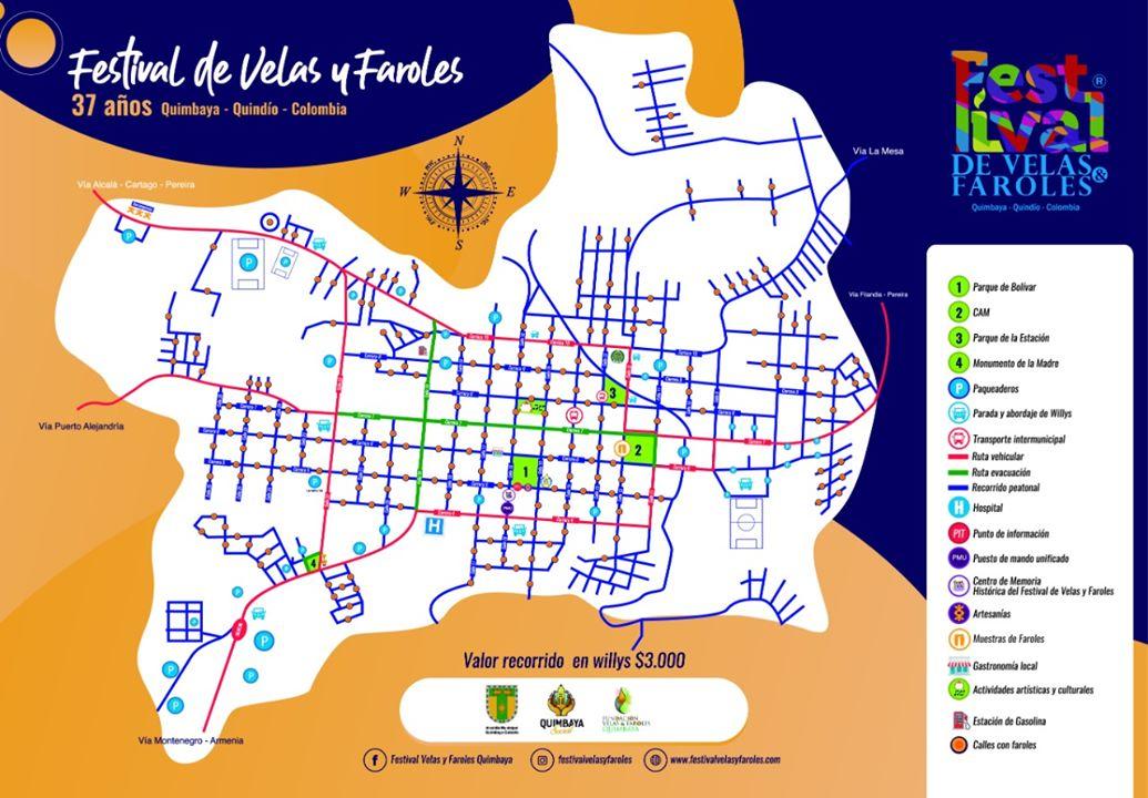 Mapa de recorrido, Festival de Velas y Faroles 37 años.